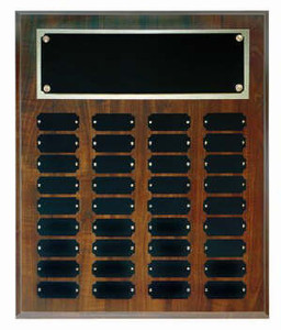 Cherry finish 15x18 plaques with 36 1 x 2 1/2 plates