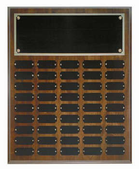 Cherry finish 16x20 plaque with 45 1 x 2 1/2 plates
