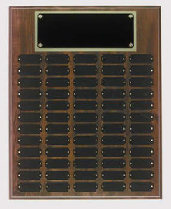 Cherry finish 16x20 plaque with 60 1 x 2 1/2 plates