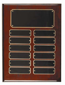 Rosewood piano finish 9x12 plaque 12 1 x 3 1/2 plates