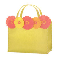 Lime Gift Tote with 5 Flowers