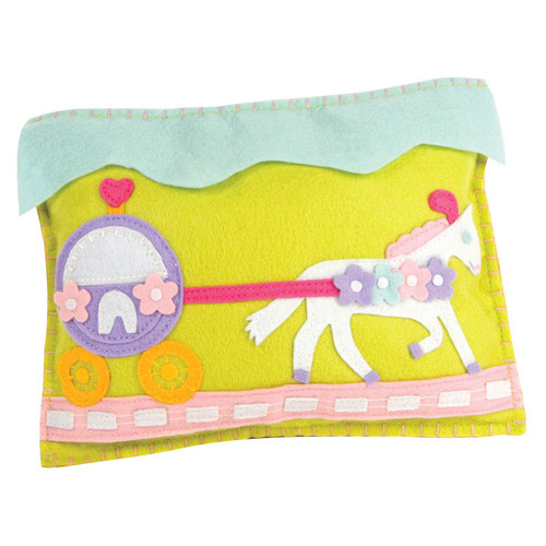 """Princess Carriage and Pony tooth fairy pillow.  The tooth and the treat slip into a pocket on the carriage.  100% poly felt. 8"""" x 10"""" WARNING: CHOKING HAZARD – Small parts. Not for children under 3 years."""