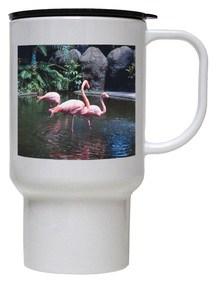 Flamingo Polymer Plastic Travel Mug