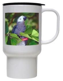 African Grey Parrot Polymer Plastic Travel Mug