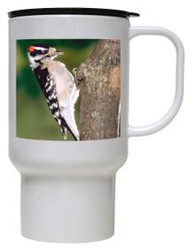 Downey Woodpecker Polymer Plastic Travel Mug