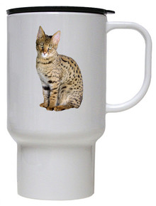 Savannah Cat Polymer Plastic Travel Mug