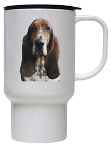 Basset Hound Polymer Plastic Travel Mug