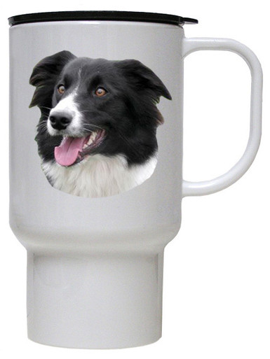 Border Collie Polymer Plastic Travel Mug