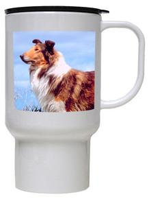 Collie Polymer Plastic Travel Mug
