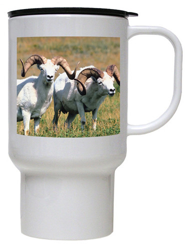 Big Horned Sheep Polymer Plastic Travel Mug