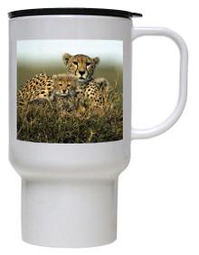 Cheetah Polymer Plastic Travel Mug