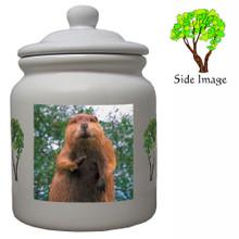 Beaver Ceramic Color Cookie Jar