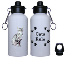 American Shorthair Cat Aluminum Water Bottle