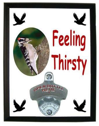 Downey Woodpecker Feeling Thirsty Bottle Opener Plaque