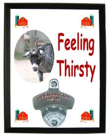 Goat Feeling Thirsty Bottle Opener Plaque