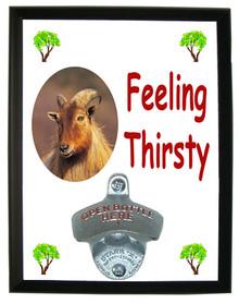 Mountain Goat Feeling Thirsty Bottle Opener Plaque