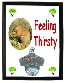 Squirrel Feeling Thirsty Bottle Opener Plaque