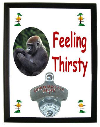 Gorilla Feeling Thirsty Bottle Opener Plaque