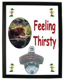 Lion Feeling Thirsty Bottle Opener Plaque