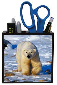 Polar Bear Wood Pencil Holder