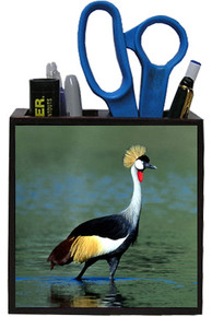 Crowned Crane Wooden Pencil Holder