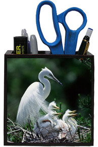 Egret Wooden Pencil Holder