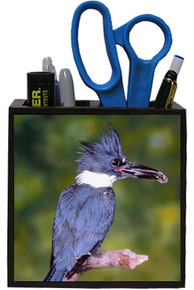 Belted Kingfisher Wooden Pencil Holder