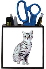 American Shorthair Cat Wooden Pencil Holder