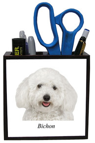 Bichon Wooden Pencil Holder