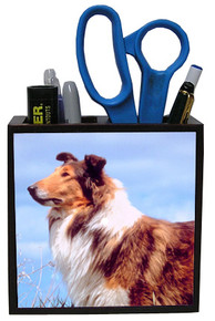 Collie Wooden Pencil Holder