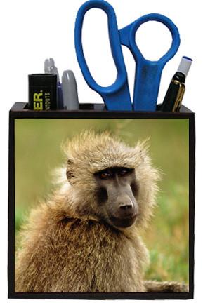 Baboon Wooden Pencil Holder