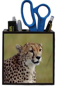 Cheetah Wooden Pencil Holder