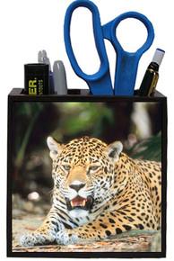Jaguar Wooden Pencil Holder