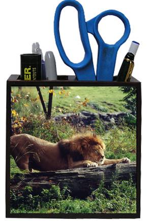Lion Wooden Pencil Holder