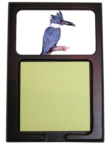 Belted Kingfisher Wooden Sticky Note Holder