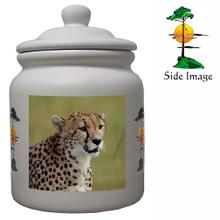 Cheetah Ceramic Color Cookie Jar