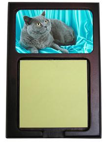 British Shorthair Cat Wood Sticky Note Holder