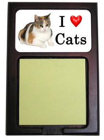 Calico Cat Wood Sticky Note Holder