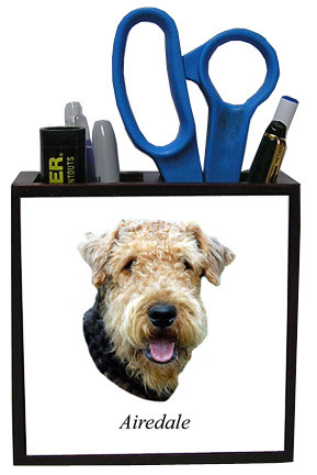 Airedale Wood Pencil Holder