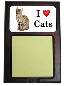 Savannah Cat Wood Sticky Note Holder
