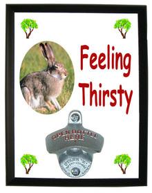 Rabbit Feeling Thirsty Bottle Opener Plaque
