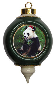 Panda Bear Ceramic Victorian Green and Gold Christmas Ornament