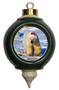 Polar Bear Ceramic Victorian Green and Gold Christmas Ornament