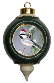 Chickadee Victorian Green and Gold Christmas Ornament