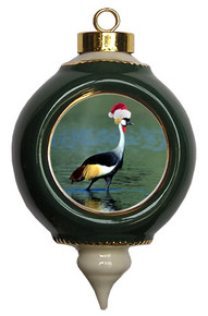 Crowned Crane Victorian Green and Gold Christmas Ornament