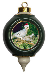 Dove Victorian Green and Gold Christmas Ornament