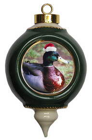 Duck Victorian Green and Gold Christmas Ornament