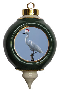 Egret Victorian Green and Gold Christmas Ornament