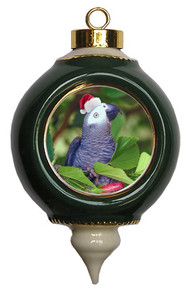 African Grey Parrot Victorian Green and Gold Christmas Ornament