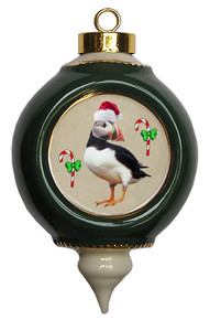 Atlantic Puffin Victorian Green and Gold Christmas Ornament